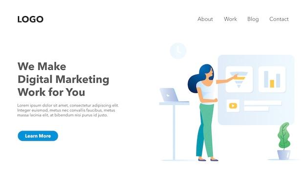 Banner di intestazione web per tema luce di marketing sito web