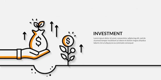 Banner di investimento, crescente concpet di finanza aziendale