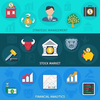 Banner di investimento piatto lungo ombre