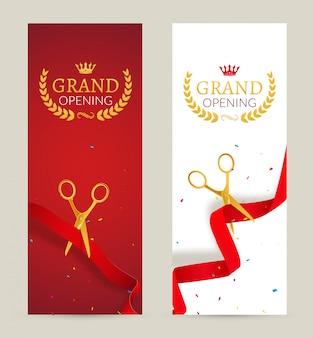 Banner di invito di grande apertura. evento cerimonia del taglio del nastro rosso. scheda di celebrazione di grande apertura