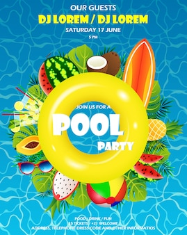 Banner di invito festa piscina estiva. materasso gonfiabile giallo acqua e palma, attrezzatura estiva, tavola da surf