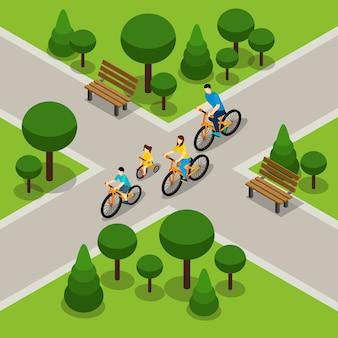 Banner di isometrica famiglia ciclismo città park