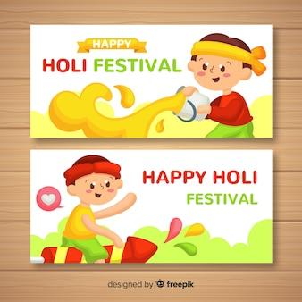 Banner di kid holi festival