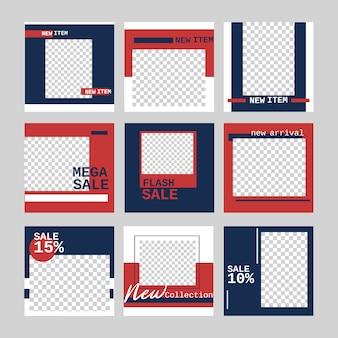 Banner di layout di media sociali per la promozione di marketing banner web vendita online con in colore blu e rosso.