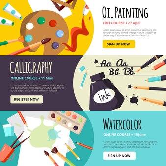 Banner di lezioni d'arte e artigianato