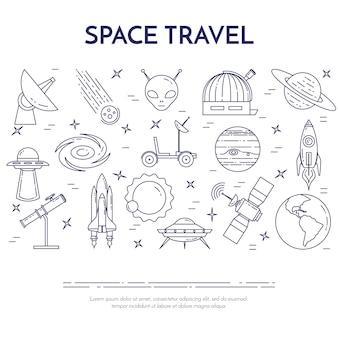 Banner di linea di viaggio spaziale con elementi di pianeti