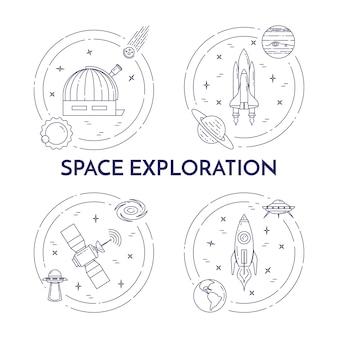 Banner di linea di viaggio spaziale con pittogrammi cosmo.