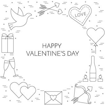 Banner di linea sottile icone per il giorno di san valentino e tema della data.