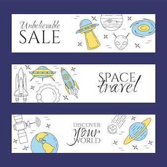 Banner di linea spaziale con pittogrammi di tema cosmo.