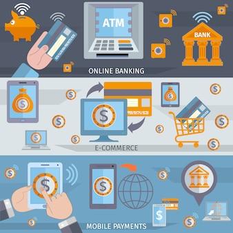 Banner di linee di mobile banking