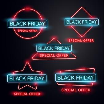 Banner di luce al neon black friday.used per negozio, negozio online, promozione e pubblicità. vect
