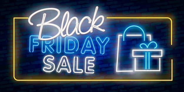 Banner di luce al neon black friday.
