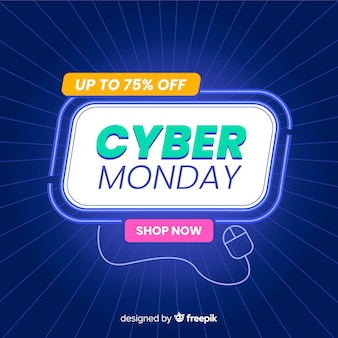 Banner di lunedì di cyber in design piatto con sfumatura