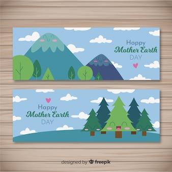 Banner di madre terra giorno disegnato a mano