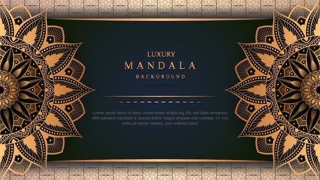 Banner di mandala di lusso con decorazioni in oro