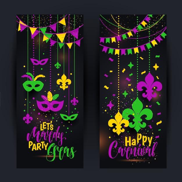 Banner di mardi gras con una maschera