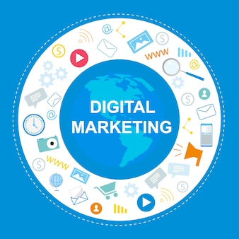 Banner di marketing digitale. simbolo internet, social media