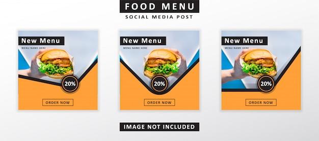 Banner di menu di cibo