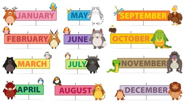Banner di mesi di un anno