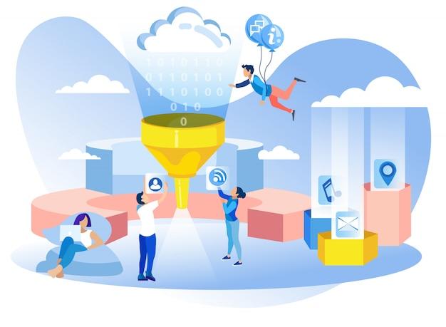 Banner di metafora del filtro dati di sviluppo di rete