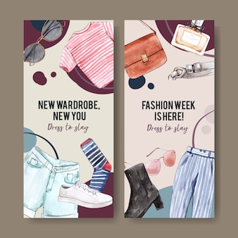 Banner di moda con borsa, t-shirt, pantaloni, scarpe