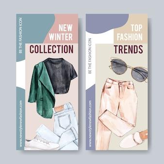 Banner di moda con camicia, pantaloni, scarpe