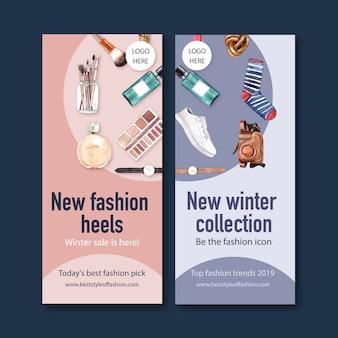 Banner di moda con orologio, macchina fotografica, cosmetici