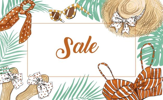 Banner di moda vendita disegnata a mano