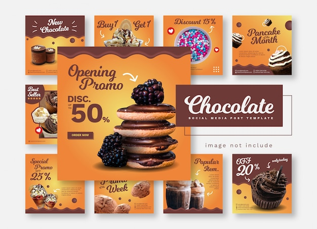 Banner di modello di social media per il cibo e il ristorante di cioccolato