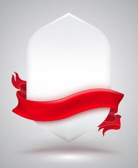 Banner di mostra con striscia rossa.