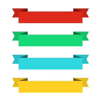 Banner di nastri piatti. nastri in design piatto. vector set di nastri colorati