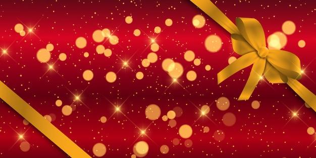 Banner di natale con nastro d'oro