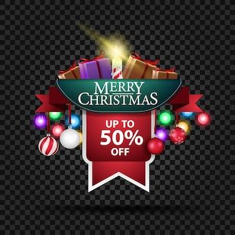 Banner di natale con sconto del 50% e regali