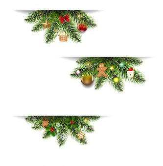Banner di natale impostato con giocattoli di natale e albero di natale