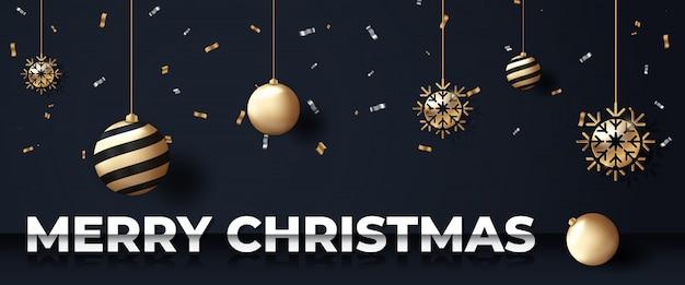 Banner di natale nero sfondo con ornamenti d'oro