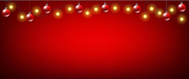 Banner di natale rosso sullo sfondo