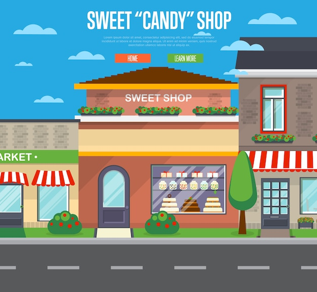 Banner di negozio di caramelle dolci in design piatto