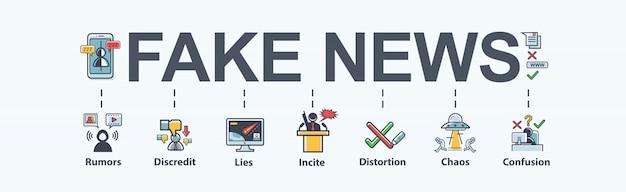 Banner di notizie false che significa icona nei social media, falso, discredito, menzogna, confusione.