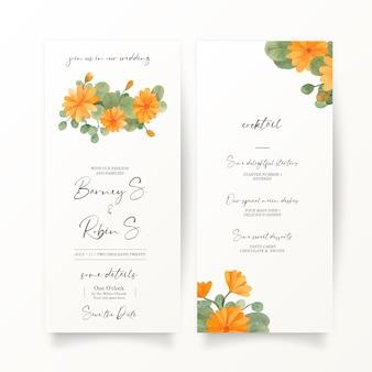 Banner di nozze con decorazioni floreali gialle