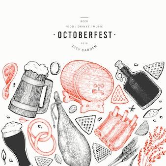 Banner di octoberfest. illustrazioni disegnate a mano.