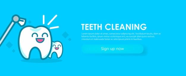 Banner di odontoiatria che pulisce i denti. simpatici personaggi kawaii.