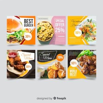 Banner di offerta di cibo con foto