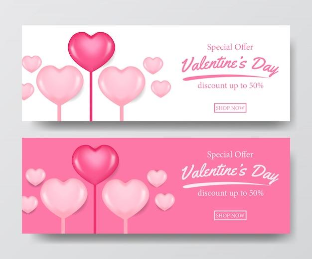Banner di offerta di vendita di san valentino con palloncino cuore 3d