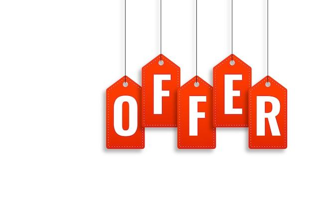 Banner di offerta promozionale nel design in stile cartellino del prezzo