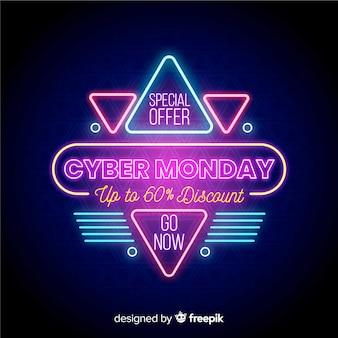Banner di offerta speciale al neon cyber lunedì