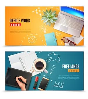 Banner di oggetti ufficio 3d
