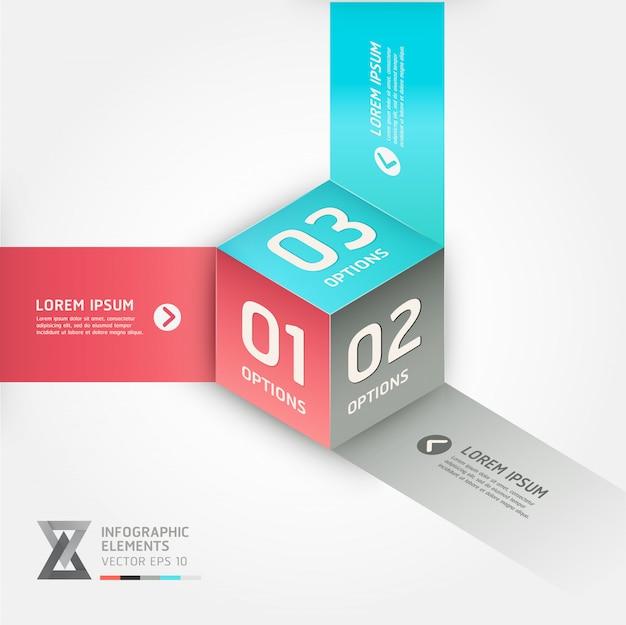 Banner di opzioni di stile moderno origami cubo.