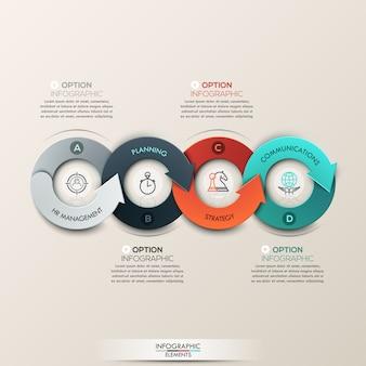 Banner di opzioni infografica moderna con processo freccia in 4 parti.