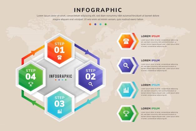 Banner di opzioni infografica moderno esagono. può essere utilizzato per il flusso di lavoro con un processo a quattro cicli. mappa di trasparenza