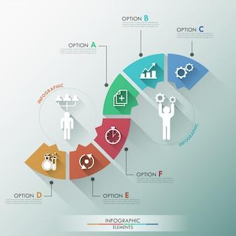 Banner di opzioni infografica piatto con modello di processo